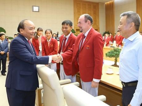 [Photo] Thủ tướng Nguyễn Xuân Phúc gặp mặt Đoàn thể thao Việt Nam