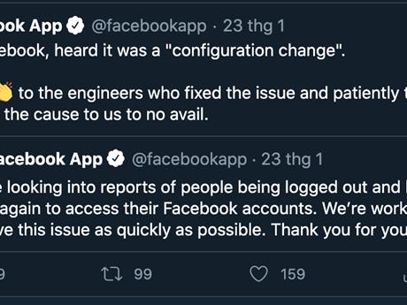Facebook thông tin sau sự cố hàng loạt tài khoản bị đăng xuất