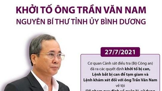 Khởi tố ông Trần Văn Nam - nguyên Bí thư Tỉnh ủy Bình Dương