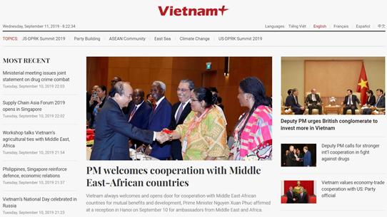 VietnamPlus ra mắt giao diện mới cho các phiên bản tiếng nước ngoài
