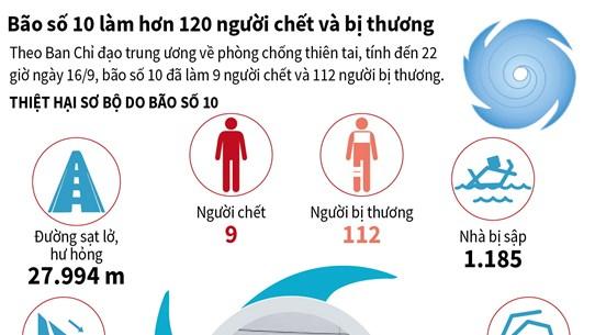[Infographics] Bão số 10 làm hơn 120 người chết và bị thương