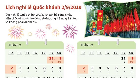 [Infographics] Lịch nghỉ lễ Quốc khánh 2/9 cho người lao động cả nước
