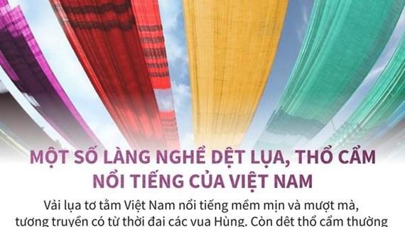 [Infographics] Một số làng nghề dệt lụa, thổ cẩm nổi tiếng ở Việt Nam