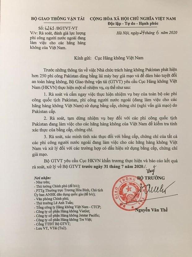 Xac minh bang cap cua phi cong nuoc ngoai dang lam viec tai Viet Nam hinh anh 1
