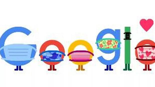 Google Doodle phat thong diep keu goi nguoi dan deo khau trang hinh anh 1