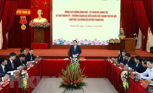 Bi thu Ha Noi: Thanh Oai can tao nen tang de som phat trien thanh quan hinh anh 1