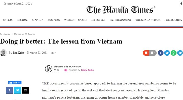 Bao Philippines: Viet Nam da tao nen cong thuc chong COVID-19 hieu qua hinh anh 1