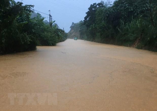 Một đoạn Quốc lộ 32 tại huyện Tân Uyên, tỉnh Lai Châu bị ngập do mưa lớn ngày 5/7/2021. (Ảnh: TTXVN phát)