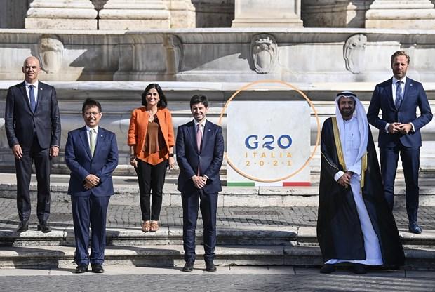 Một số bộ trưởng y tế tham dự Hội nghị Bộ trưởng Y tế Nhóm G20 tại Rome, Italy. Ảnh: EPA-EFE