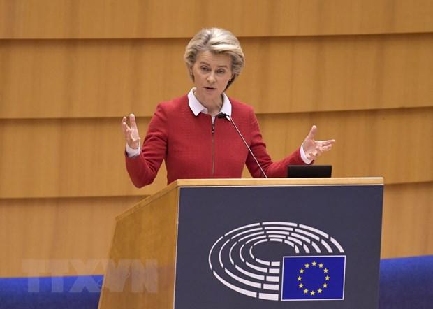 Chủ tịch Ủy ban châu Âu (EC) Ursula von der Leyen phát biểu tại Brussels, Bỉ. Ảnh: AFP/TTXVN