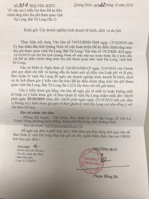 Lu hanh 'soc' vi du thao tang gia phi ma cua Ban quan ly vinh Ha Long hinh anh 1