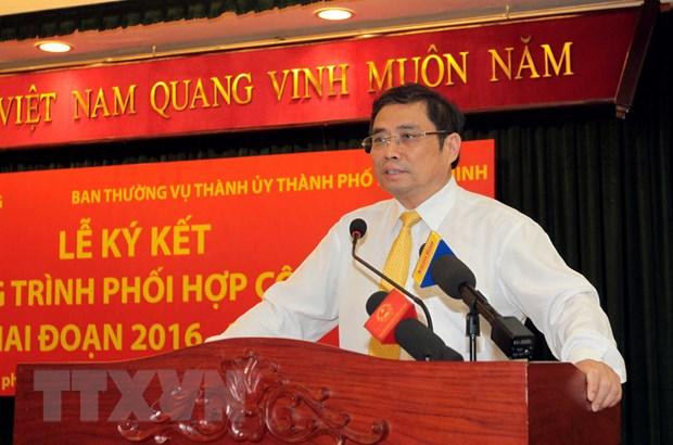Ban To chuc TW ky ket hop tac voi Ban Thuong vu Thanh uy TP.HCM hinh anh 1