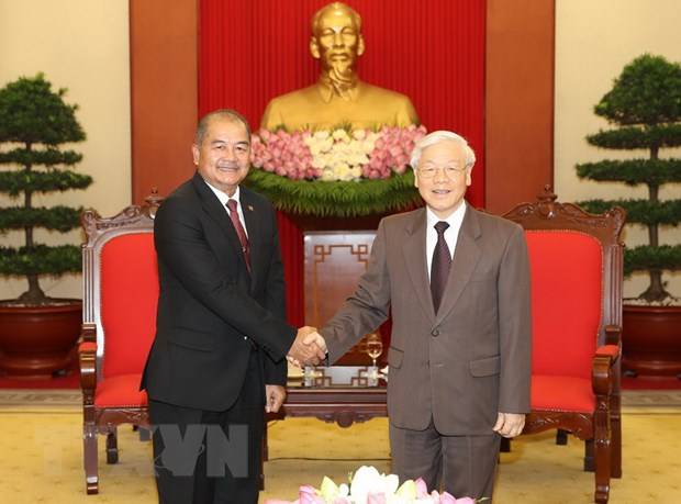 Tong Bi thu tiep doan dai bieu Dang Nhan dan Cach mang Lao hinh anh 1