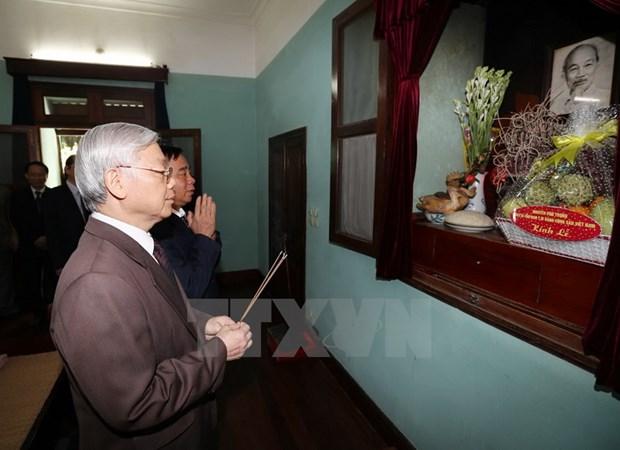 Tong Bi thu Nguyen Phu Trong dang huong tuong niem Bac Ho hinh anh 1