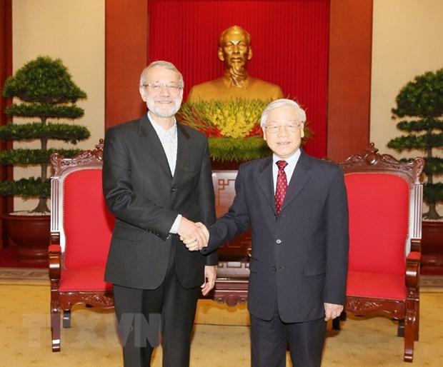 Tong Bi thu Nguyen Phu Trong tiep Chu tich Quoc hoi Iran hinh anh 1