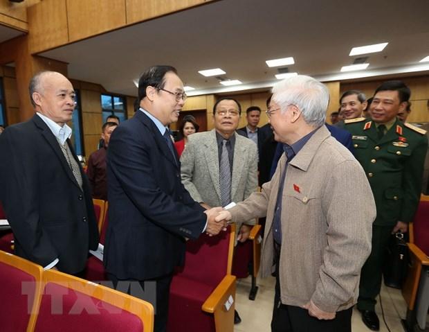 Tong Bi thu, Chu tich nuoc Nguyen Phu Trong tiep xuc cu tri Ha Noi hinh anh 1