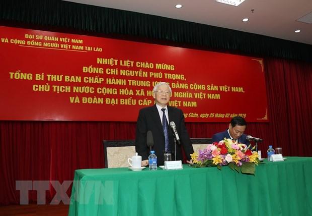Tong Bi thu, Chu tich nuoc noi chuyen voi cong dong nguoi Viet tai Lao hinh anh 1