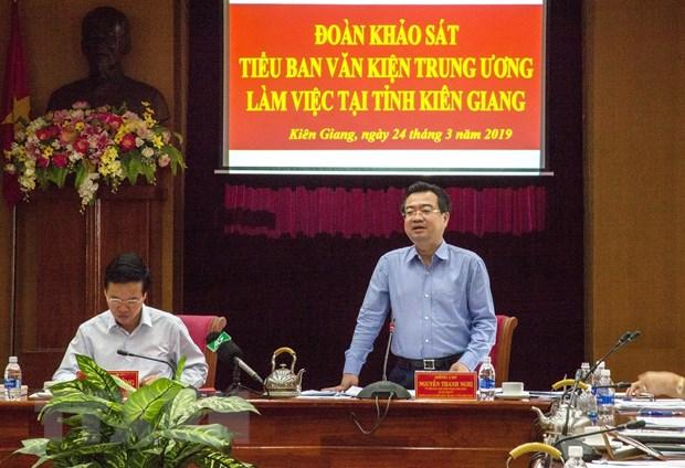 Doan Tieu ban Van kien Dai hoi XIII cua Dang lam viec tai Kien Giang hinh anh 1