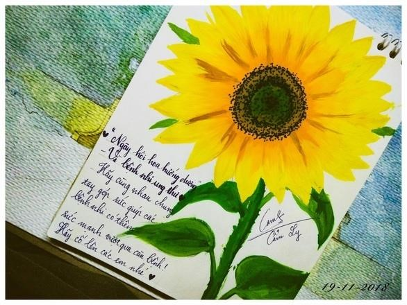 Thông điệp ủng hộ bệnh nhi ung thư bằng việc chia sẻ tranh vẽ hoa hướng dương kèm hashtag #ngayhoihoahuongduong2018 #uocnguyenhong2018 thật hay giả?