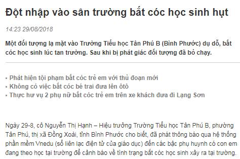 Thông tin về vụ bắt cóc hụt xảy ra tại Trường Tiểu học Tân Phú B (phường Tân Phú, thị xã Đồng Xoài), Bình Phước là thật hay giả?