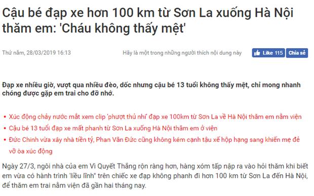 Một cậu bé 13 tuổi đạp xe hơn 100km từ Sơn La về Hà Nội thăm em. Thông tin này là thật hay giả?