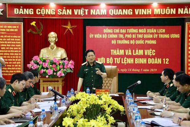 Bo truong Bo Quoc phong Ngo Xuan Lich lam viec voi Binh doan 12 hinh anh 1