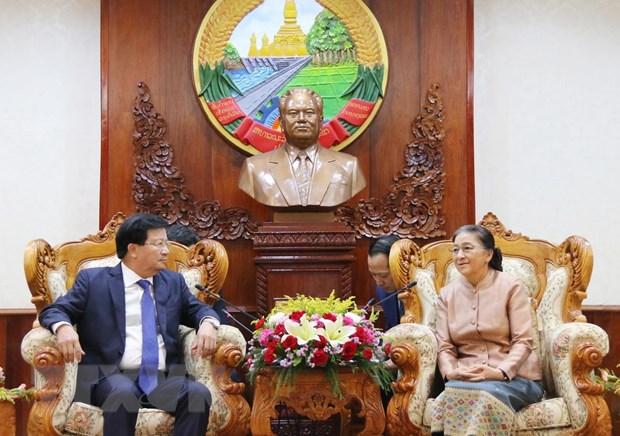 Lanh dao cap cao Lao: Quan he Viet Nam-Lao dang phat trien tot dep hinh anh 1