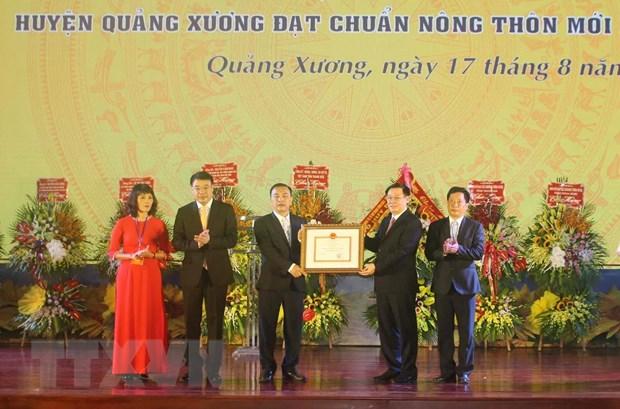 Thanh Hoa: Huyen Quang Xuong duoc cong nhan dat chuan nong thon moi hinh anh 1