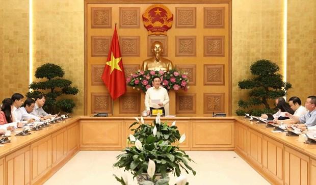 Phó Thủ tướng Vương Đình Huệ, Trưởng Ban Chỉ đạo điều hành giá chủ trì cuộc họp. (Ảnh: Văn Điệp/TTXVN)