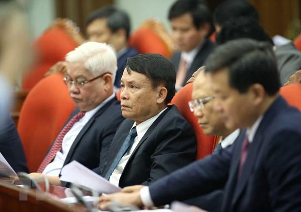 Tổng Giám đốc Thông tấn xã Việt Nam Nguyễn Đức Lợi cùng các Ủy viên Trung ương dự hội nghị. Ảnh: Phương Hoa/TTXVN