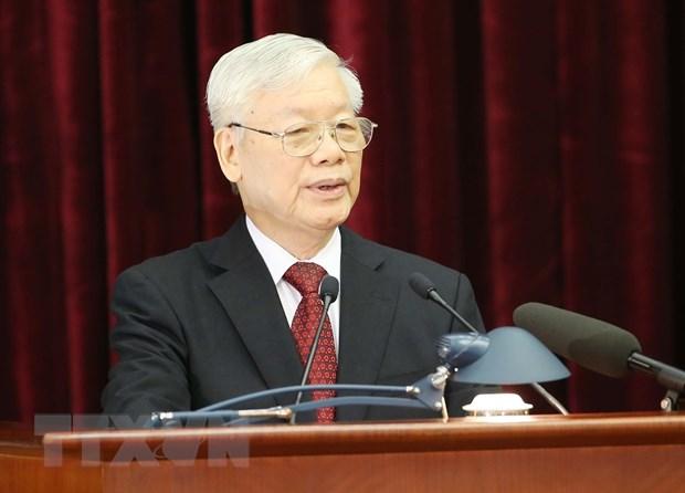 Tổng Bí thư, Chủ tịch nước Nguyễn Phú Trọng phát biểu khai mạc hội nghị. Ảnh: Phương Hoa/TTXVN