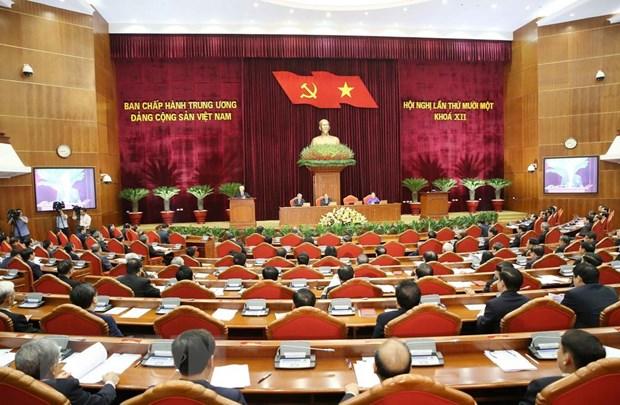 Ngay lam viec thu hai Hoi nghi lan thu 11 Ban Chap hanh TW Dang hinh anh 1