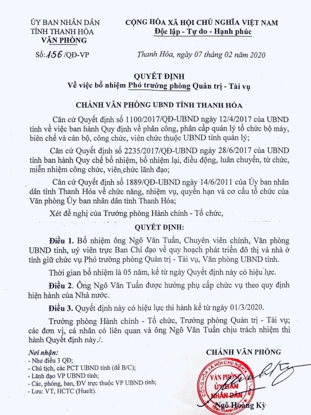 Cuu Pho Chu tich tinh Thanh Hoa Ngo Van Tuan duoc bo nhiem vi tri moi hinh anh 1