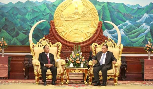 Tong Bi thu, Chu tich nuoc Lao tham chinh thuc Campuchia hinh anh 1