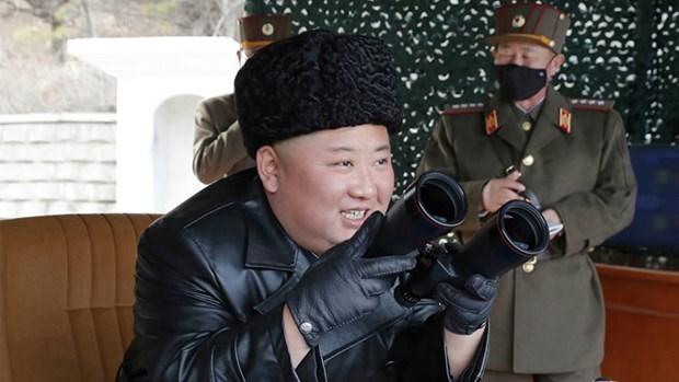 Lanh dao Trieu Tien Kim Jong-un thi sat cuoc dien tap phao binh tam xa hinh anh 1