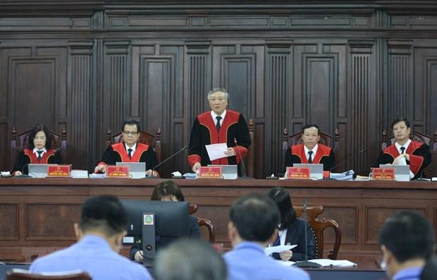 Chánh án Tòa án Nhân dân Tối cao Nguyễn Hòa Bình, Chủ tọa phiên tòa. Ảnh: Doãn Tấn/TTXVN