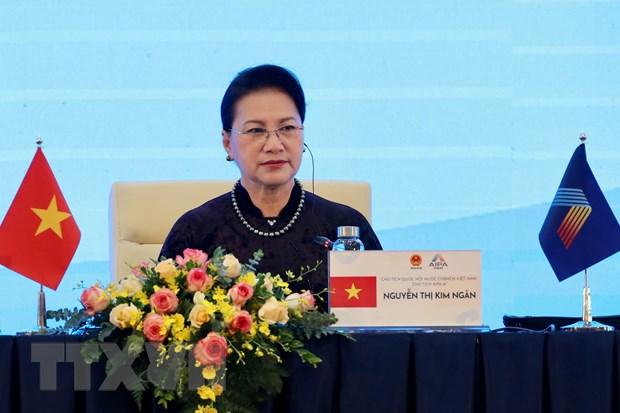 Chủ tịch Quốc hội Nguyễn Thị Kim Ngân, Chủ tịch AIPA 41 điều hành Phiên toàn thể thứ hai. Ảnh: Dương Giang/TTXVN