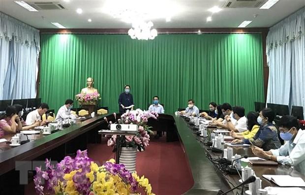 Quang cảnh cuộc họp khẩn của Ban Chỉ đạo phòng, chống dịch bệnh COVID-19 tỉnh Vĩnh Long. (Ảnh: Lê Thúy Hằng/TTXVN)