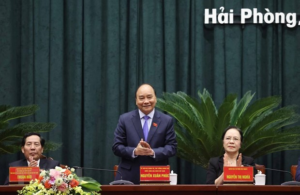 Thu tuong Chinh phu Nguyen Xuan Phuc tiep xuc cu tri Hai Phong hinh anh 1