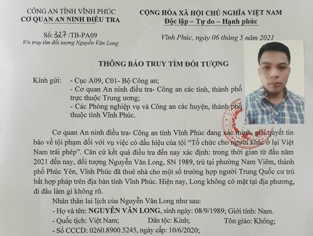 Truy tim doi tuong to chuc cho nguoi khac o lai Viet Nam trai phep hinh anh 1
