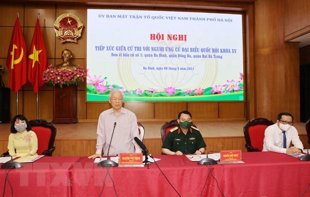 Tong Bi thu Nguyen Phu Trong tiep xuc cu tri, van dong bau cu o Ha Noi hinh anh 1