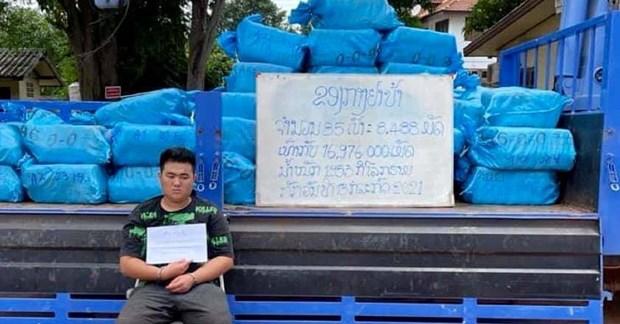 Canh sat Lao thu giu gan 2 tan ma tuy tong hop tai Vientiane hinh anh 1