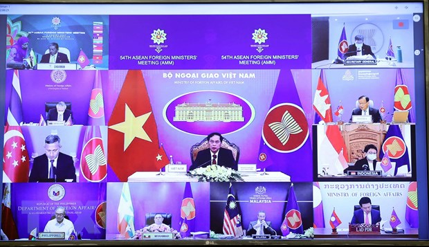 Bộ trưởng Bộ Ngoại giao Bùi Thanh Sơn phát biểu trực tuyến tại điểm cầu Hà Nội. (Ảnh: Phạm Kiên/TTXVN)