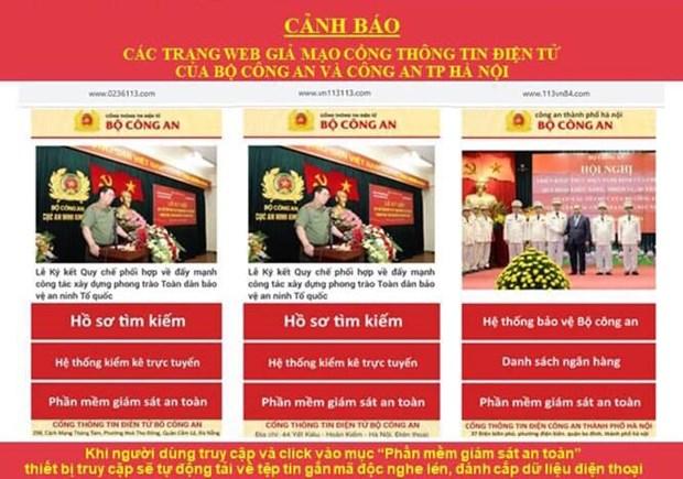 Phat hien 8 trang web gia mao luc luong Cong an nhan dan hinh anh 1