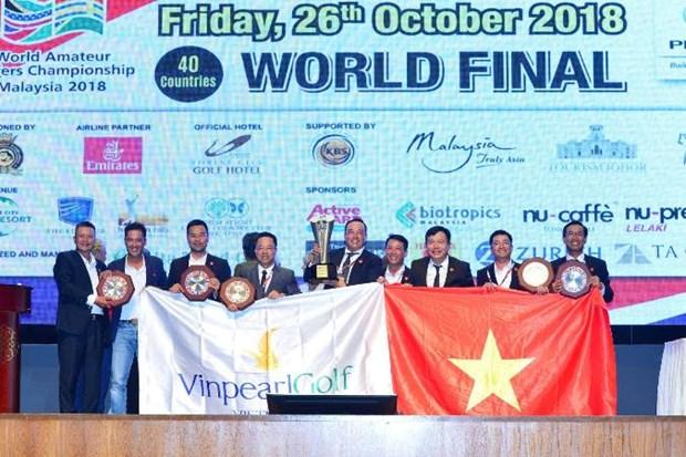 Doi tuyen Golf Viet Nam bao ve thanh cong vi tri so 1 Giai WAGC 2018 hinh anh 1