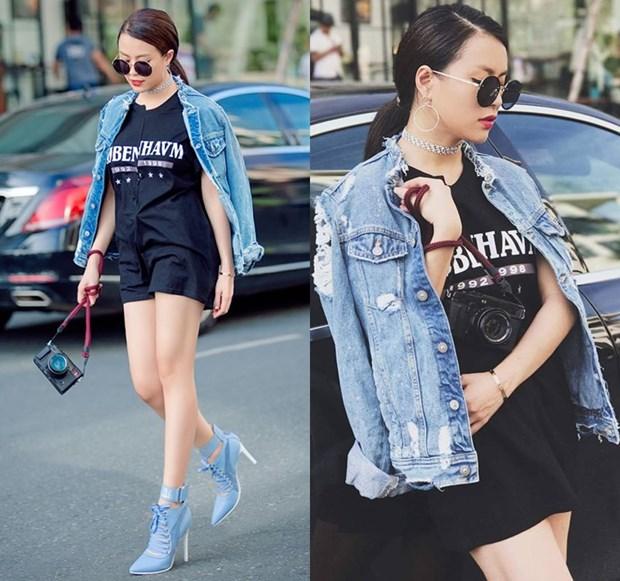 Hoang Thuy Linh va Thanh Hang bien tau ao thun sanh dieu hinh anh 2