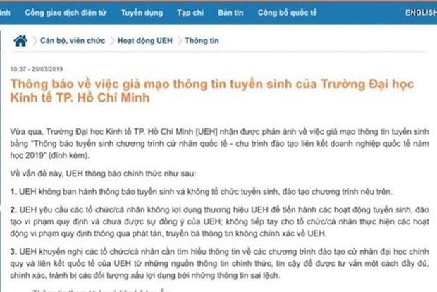 Canh giac thu doan gia mao Dai hoc Kinh te TP.HCM tuyen sinh hinh anh 1