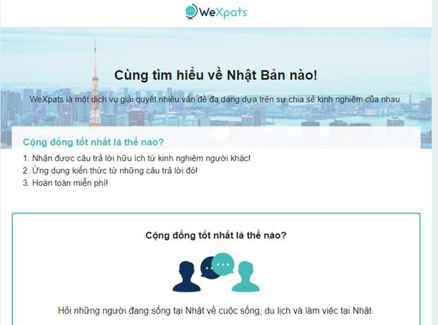 WeXpats - trang web ho tro nguoi Viet quan tam toi Nhat Ban hinh anh 1