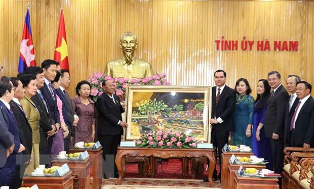Chu tich Quoc hoi Vuong quoc Campuchia tham tinh Ha Nam hinh anh 1