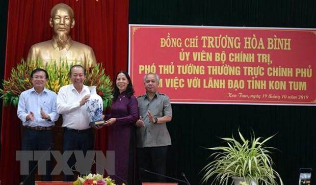 Pho Thu tuong Truong Hoa Binh lam viec voi lanh dao tinh Kon Tum hinh anh 1